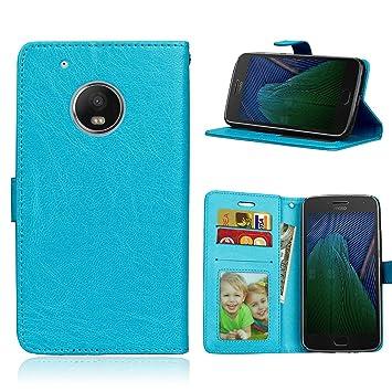 Funda Motorola Moto G5 Plus/X4/X 2017 XT1684 XT1685,Bookstyle 3 Card Slot PU Cuero Cartera para TPU Silicone Case Cover-Azul: Amazon.es: Electrónica