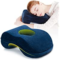 Nap Sleeping Pillow Cushion AF8 Bamboo Charcoal Memory Foam Pillow Slow Rebound Desk Nap Pillow with Hollow Design Ideal for Face Down Sleeper Back Support, Removable Washable Velvet Cover