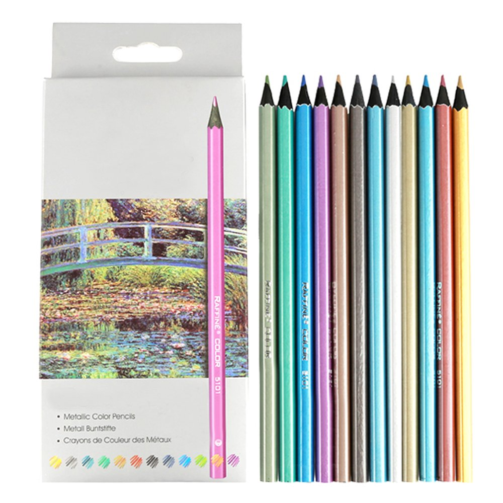 Metallic Colored Pencils,12 Count Colored Drawing Pencils for Artist Painting Sketch Adult Coloring Book Looneng