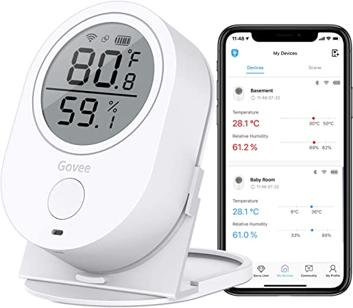 Govee WiFi Temperature Humidity Monitor, Wireless Digital Indoor Hygrometer Thermometer with App Alerts