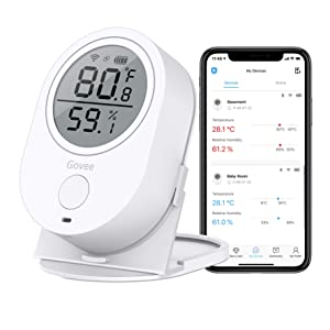 Temperature Humidity Monitor, Govee WiFi Digital Indoor Hygrometer Thermometer, Wireless Temp Humidity Sensor Smart Humidity Guage with Alerts for Home House Garage Wine Cellar and Cigar Humidor
