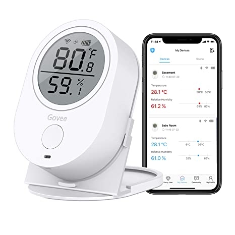 Temperature Humidity Monitor, Govee WiFi Digital Indoor Hygrometer  Thermometer, Wireless Temp Humidity Sensor Smart Humidity Guage with Alerts  for
