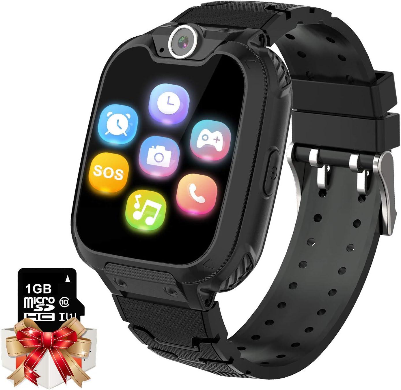 Smartwatch para Niños Game Watch - Juego de Música Reloj Inteligente (Incluye Tarjeta Micro SD de 1GB) con Juegos de Llamada Grabadora de Cámara Reloj Despertador para Niños Niñas (Negro)