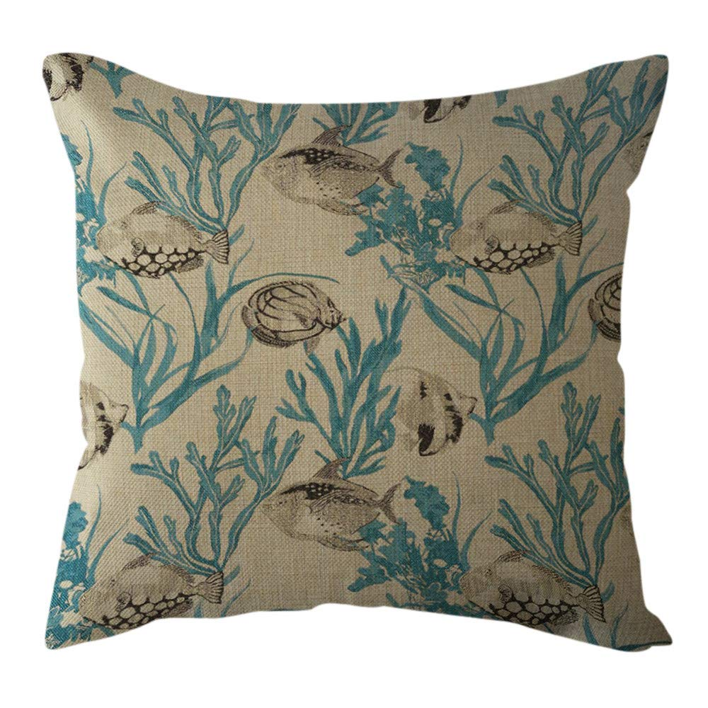Pgojuni Cotton Linen Butterfly Home Decorative Throw Pillow Case Waist Cushion Throw Pillow Case for Sofa/Couch 1pc 45X45 cm (B)