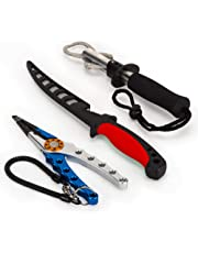 Fishing Kit with Fish Fillet Knife, Fish Lip Gripper, Split Ring Fishing Pliers, Fishing Line Cutters and Hook Remover with Sheath, an Ideal Men who Love Fishing, Camping and Outdoor Sports.