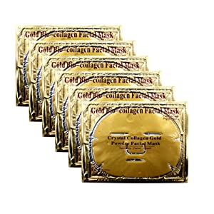 Joynest 6 PCS 24k Gold Gel Collagen Face Masks, Facial Treatment Deep Moisturizing Masks For Anti Aging Puffiness Skincare Anti Wrinkle Tighten Skin & Revitalize Skin (Gold)