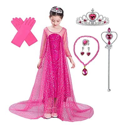 Lito Angels Girls Princess Dress Up Costumes Halloween Christmas Party Dress Gown Sequined with Accessories: Clothing