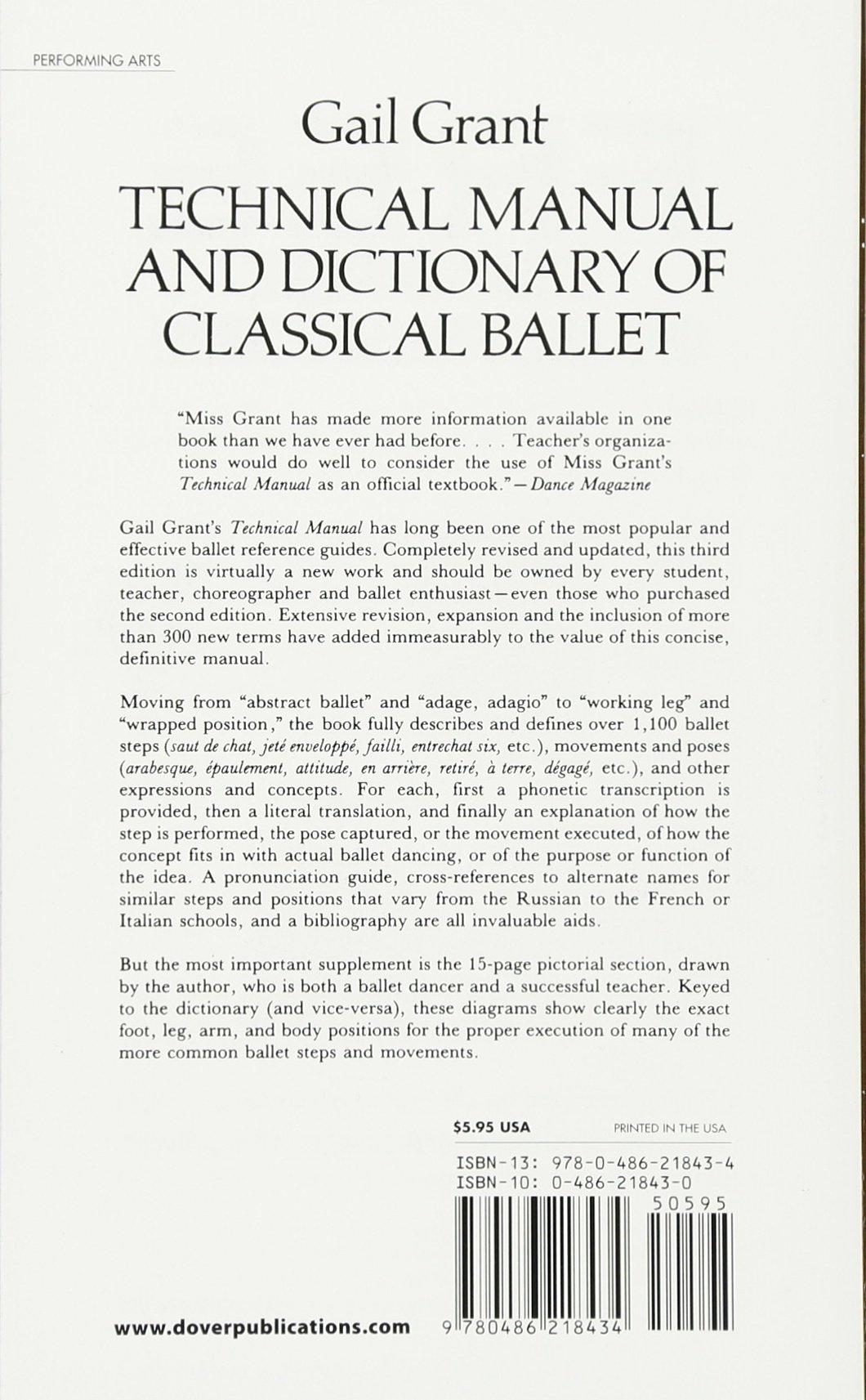Technical Manual And Dictionary Of Classical Ballet Dover Books On Dance Gail Grant 9780486218434 Amazon