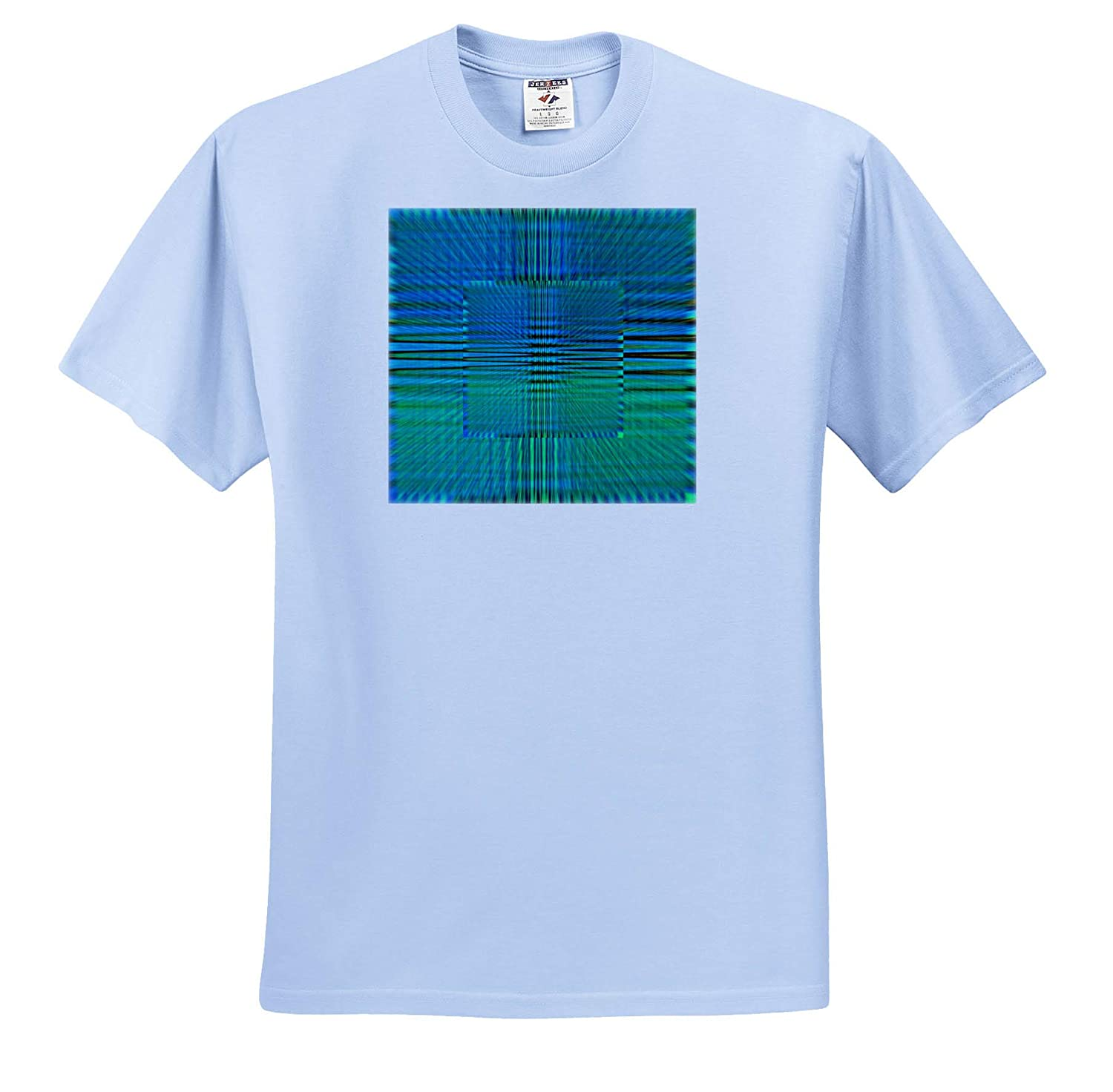T-Shirts Three D Abstract Design 3dRose Lens Art by Florene Image of Blue Green Three D Lines in A Pattern