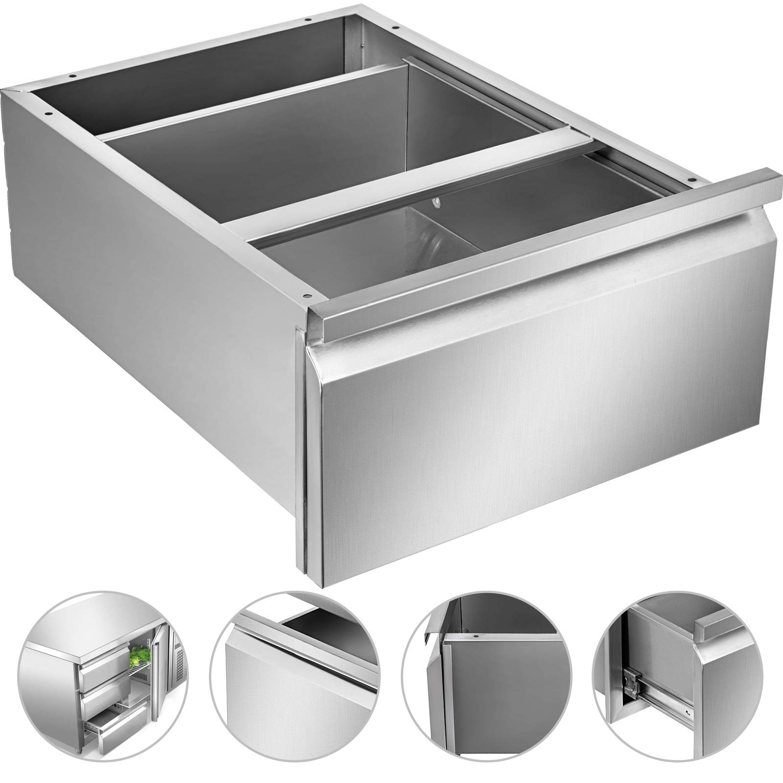 Mophorn Outdoor Kitchen Drawer Stainless Steel BBQ Storage with Chrome Handle Flush Mount Sliver (15.7 x 20 x 8 Inch, Single Worktable Drawer)