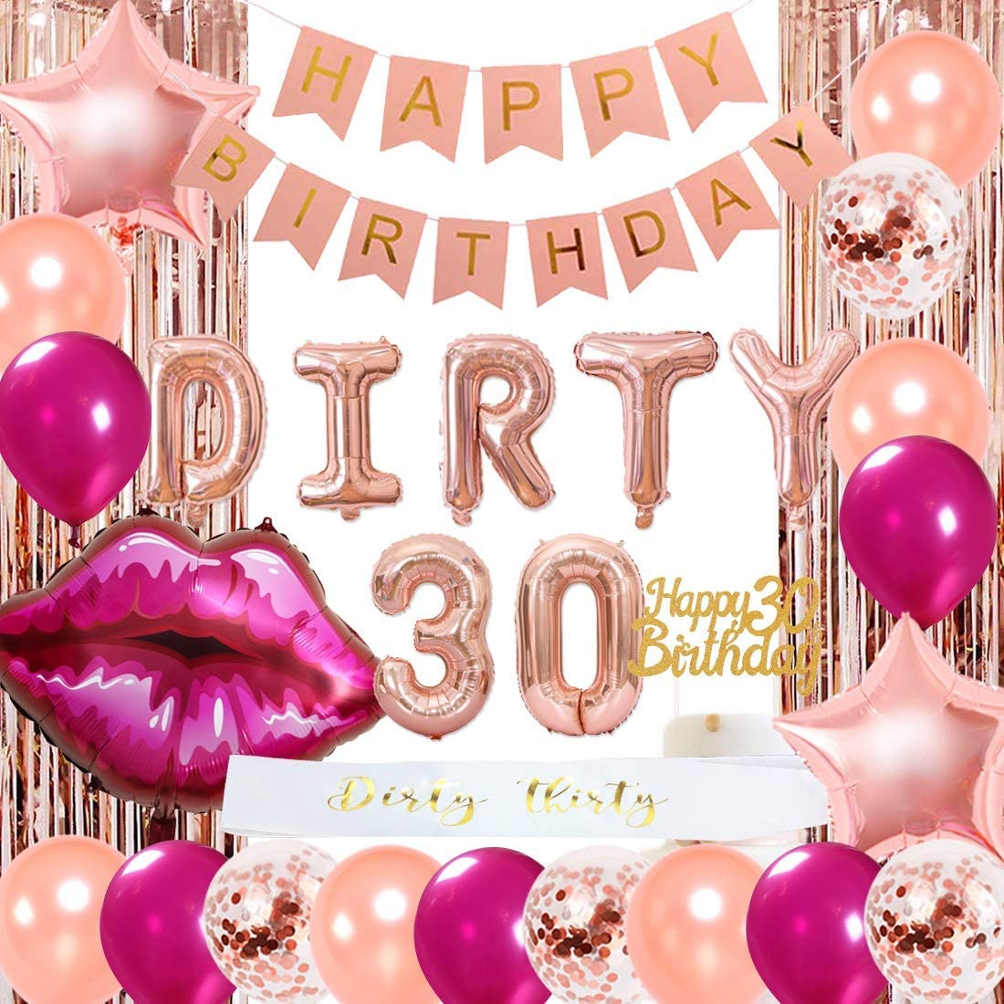 30th Birthday Decorations for Women Rose Gold Happy 30th Birthday for Her 30 Party Supplies Dirty 30 Balloons Sash Cake Topper