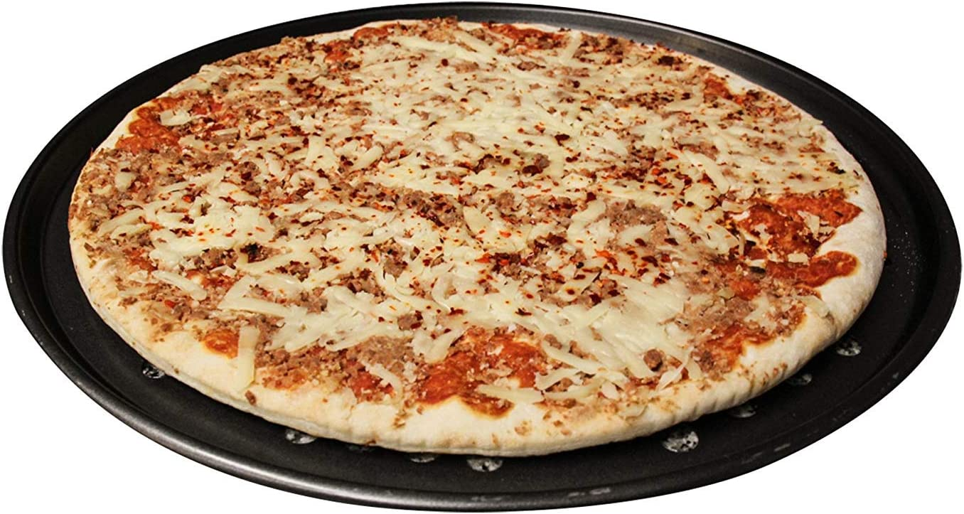 Schneespitze 4Pcs Plateau de Pizza de Plat de Cuisson,Plaque /à Pizza Ronde,Pizza antiadh/ésifs en Acier au Carbone Plateau Four /à la Cuisini/ère Barbecue