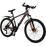 Mountain Bike with Speedometer, OMAAI 27 Speed Bicycle with Alloy Wheels and Full Suspension