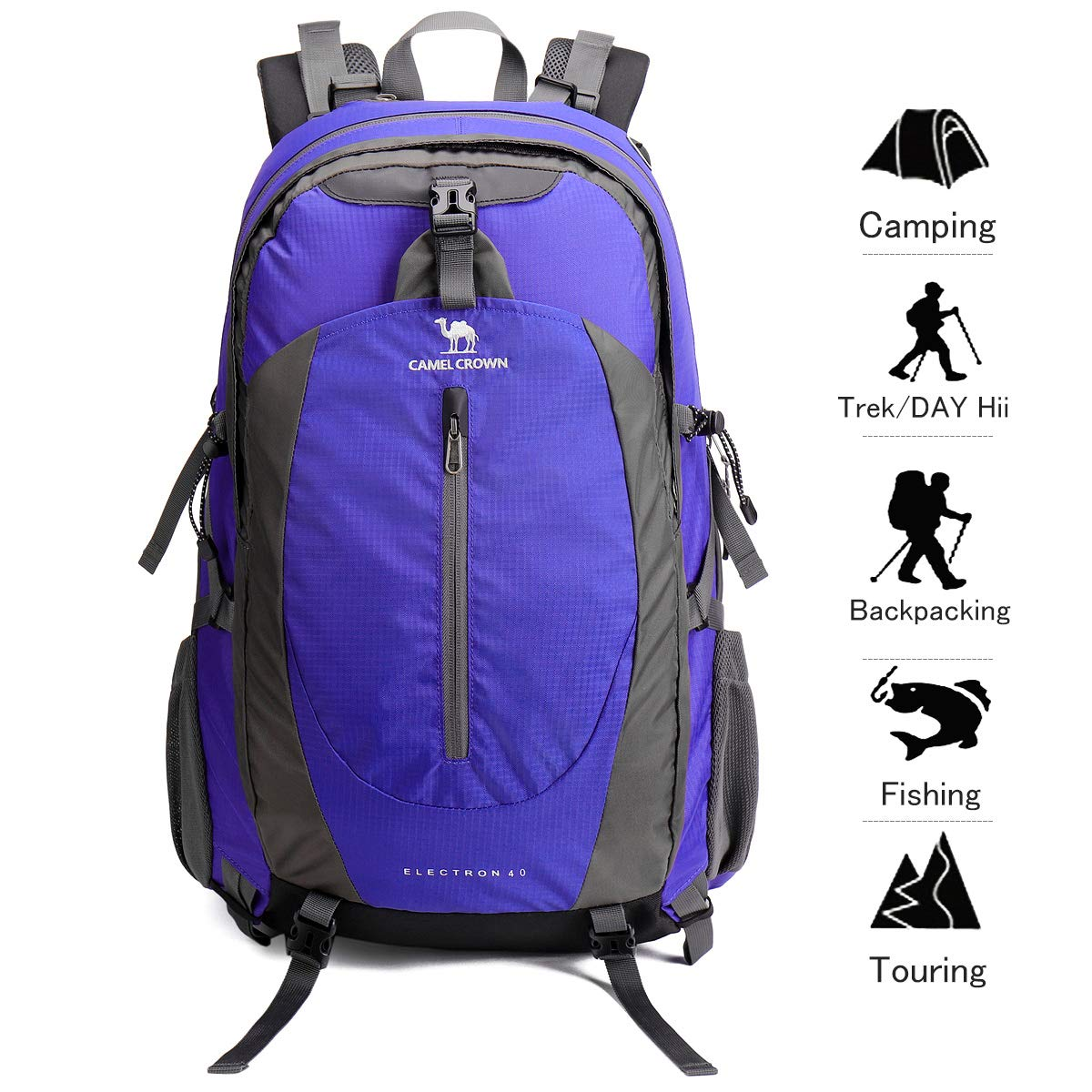 CAMEL CROWN Randonnée Sac à Dos Voyage léger Emballable Durable Étanche Sports Daypack pour Camping Pêche Voyage Cyclisme Ski Vert 40L