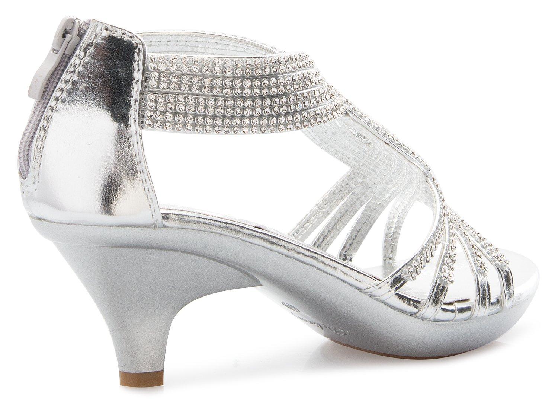 b6388bb4ee1a OLIVIA K Women s Open Toe Strappy Rhinestone Dress Sandal Low Heel Wedding  Shoes