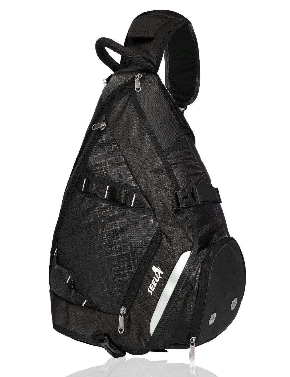 SEEU 32L Oversized Sling Bag Backpack, Crossbody Bag Gym Backpack Outdoor Hiking Travel Bag for Men Women Kids