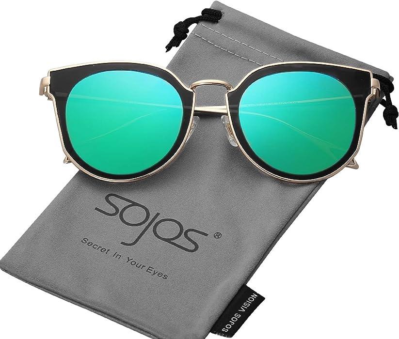 aa8abd01901e SOJOS Fashion Polarized Sunglasses for Women UV400 Mirrored Lens SJ1057