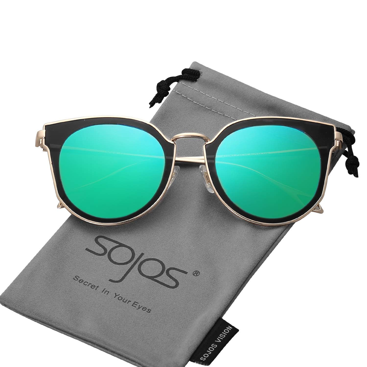 a191b31a49 SOJOS Fashion Polarized Sunglasses for Women UV400 Mirrored Lens SJ1057  with Gold Frame Green Mirrored