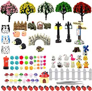 Yookat 106 Pieces Miniature Fairy Garden Ornaments Mini Animals for Fairy Garden Fairy Miniature Ornament Decoration Fairy Garden Accessories with Tweezers for DIY Fairy Garden