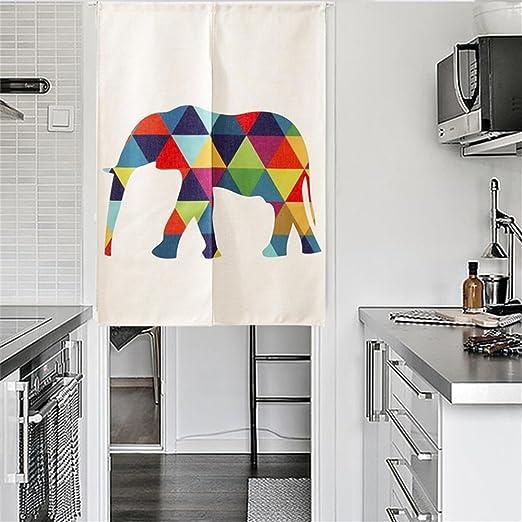 ele Election - Cortina de puerta Noren para puerta o cortina de lino de algodón japonés, algodón tela, Léléphant, 85*120CM: Amazon.es: Hogar