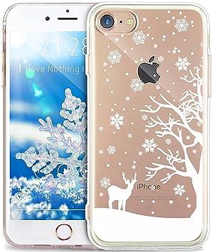 Cover iPhone 6S,Cover iPhone 6,Serie pittura natalizia fiocco neve Snowflake Ultra Sottile Trasparente Morbida TPU Silicone Gel Custodia Case Cover ...