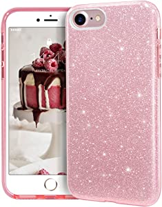 """MATEPROX iPhone SE 2020 case,iPhone 8 case,iPhone 7 Glitter Bling Sparkle Cute Girls Women Protective Case for 4.7"""" iPhone 7/8/SE (Pink)"""