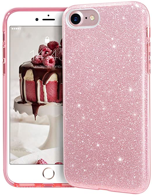 MATEPROX Coque pour iPhone SE 2020, iPhone 8, iPhone 7 Paillettes, pailletées et scintillantes, pour iPhone 7/8/SE 4,7 pouces, rose