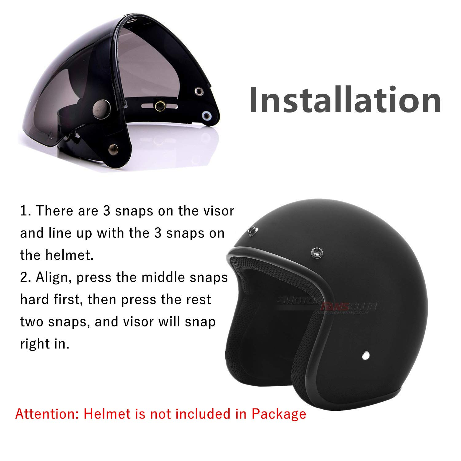 Pilot-Style Universal 3 Snap-Button Visor for Open Face Motorcycle Helmet Wind Shield Flip Up Down By MotorFansClub Clear, Free size