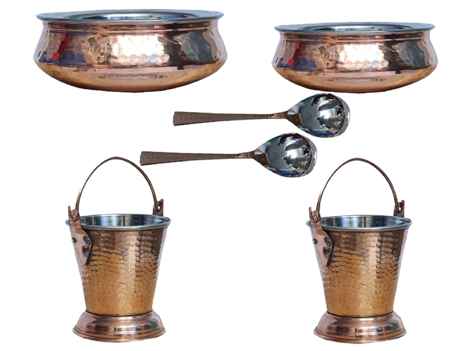 Kuber Industries Handmade Hammered Copper Steel /Copper Gravy Bucket/Balti 2 Pcs with 2 Handi Bowl and 2 Spoon For Serving Dishes (Buck47)