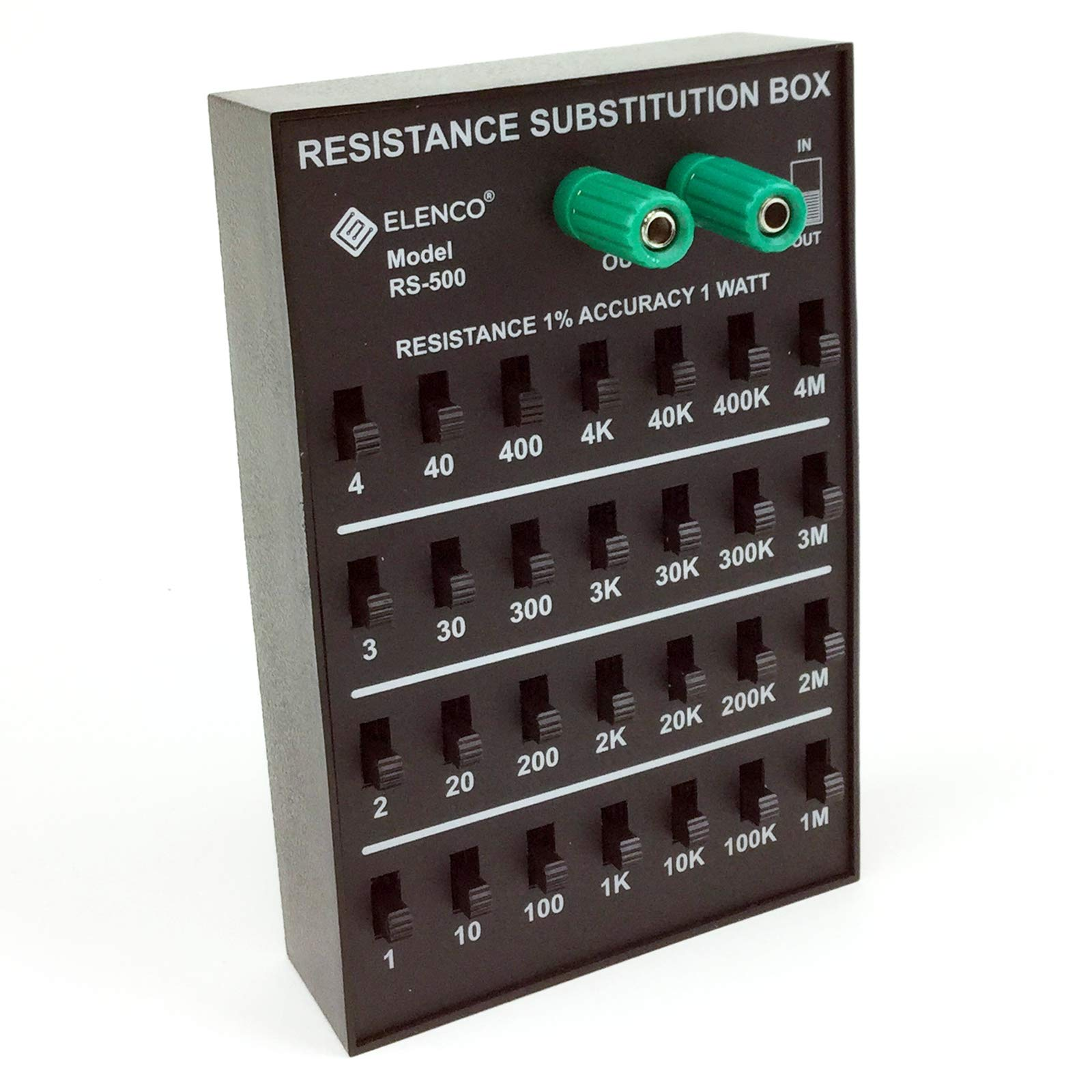 Elenco Resistance Substitution Box | Resistance Range From 1Ω To 11, 111 , 110MΩ  | 1% Precision: 1Ω-40kΩ- 1 Watt/ 100kΩ- 4MΩ- 1/2 Watt