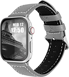 Fullmosa Compatible Apple Watch Band Leather 42mm 44mm 38mm 40mm for iWatch SE & Series 6/5/4/3/2/1,42mm/44mm Grey + Silver Buckle