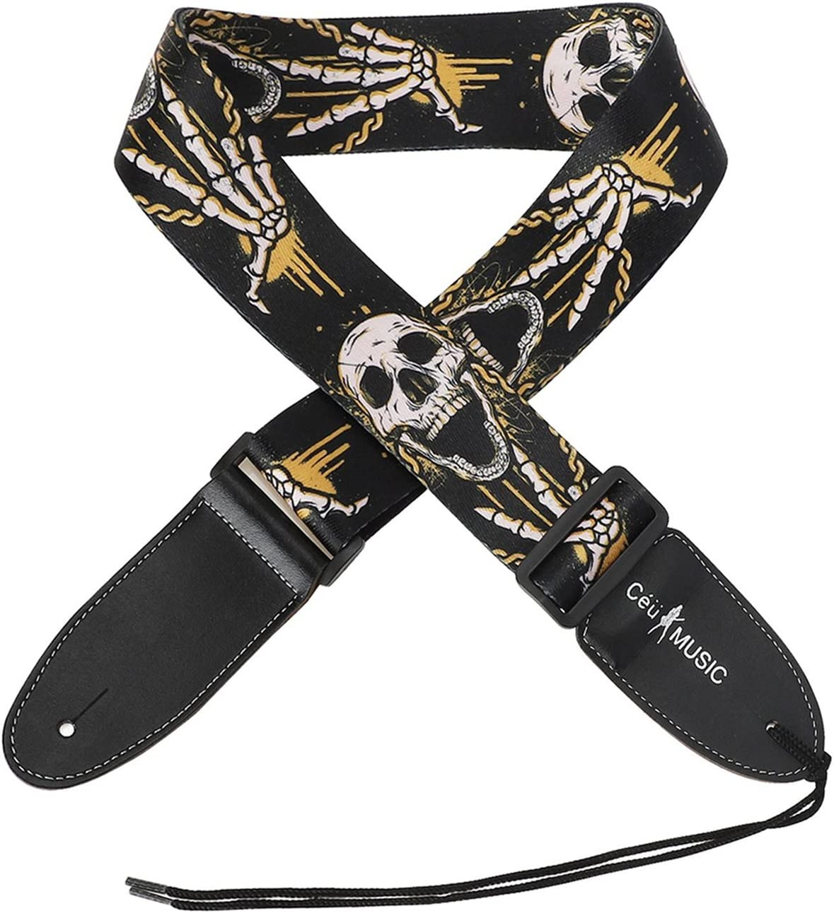 Calaveras negro correa para guitarra con extremos de piel guitarra correa para el hombro para guitarra acústica y bajo eléctrico, mejor regalo para su amigo