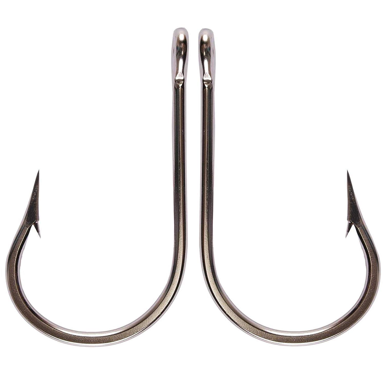 Sharp Steel Shark Fishing Hooks Forged Stainless Steel Fishing Hooks Knife Edge Point Round Bend Ringed Eye Sea Big Game Tuna Bait Hook Sizes 3/0-13/0