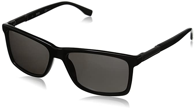 aa77fc75b BOSS by Hugo Boss Men's B0704ps Rectangular, Black Dark Ruthenium & Gray  Polarized, ...