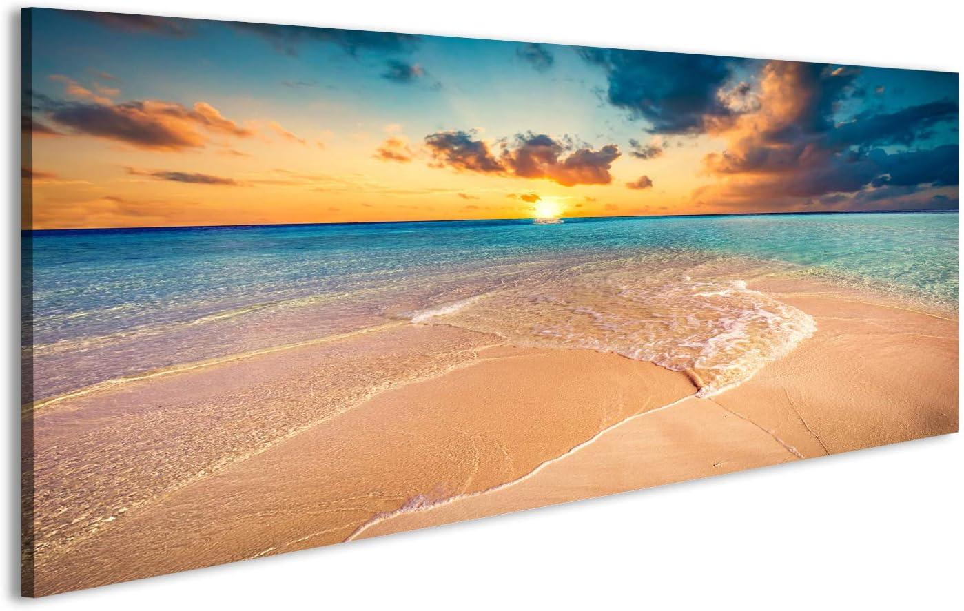 islandburner Cuadro Cuadros Playa Tropical con Arena Blanca y mar Turquesa Claro. ins Maldivas Impresión sobre Lienzo - Formato Grande - Cuadros Modernos DVX