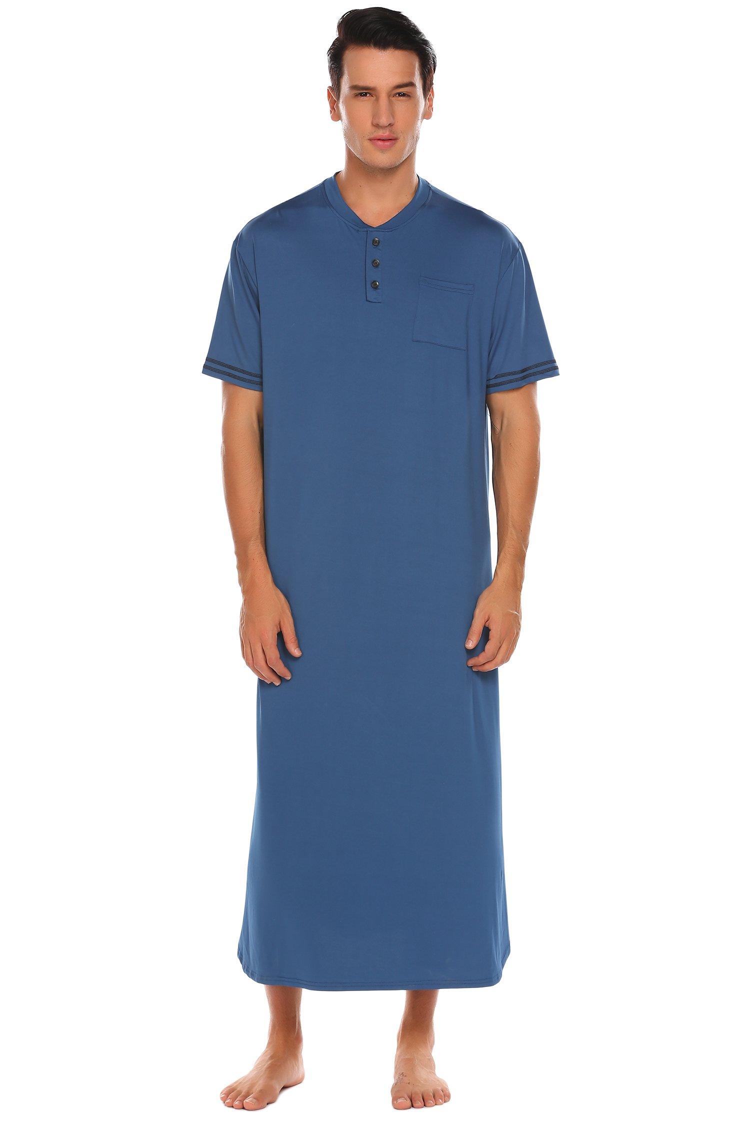 Ekouaer Men's Cotton Nightshirts Lightweight HenleySleepshirt (Blue, Large)