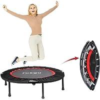 RUXINGGU Fitness trampoline met optionele inklapfunctie Ø 40 inch - stille en gewrichtsvriendelijke bungee-touwen…