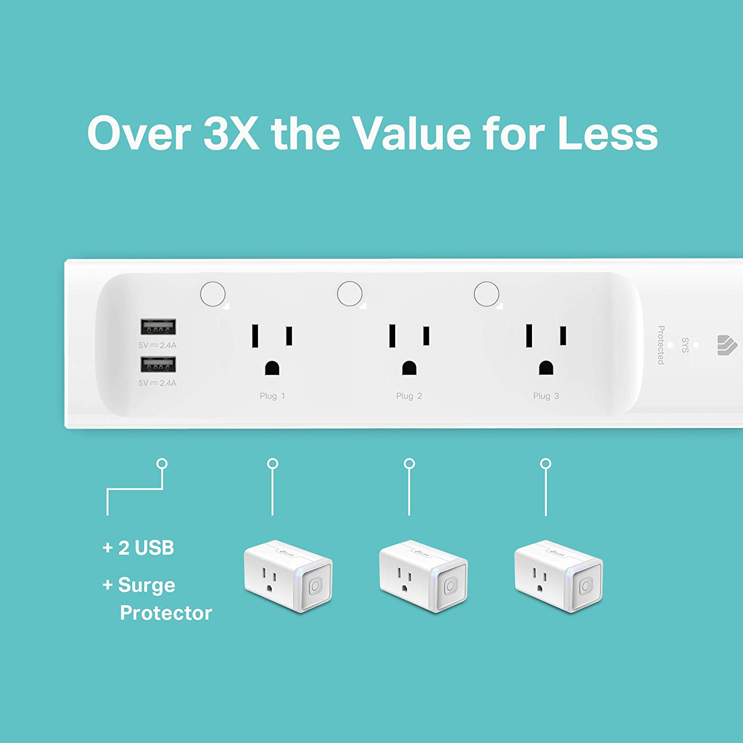 Kasa Smart Plug Power Strip, Surge Protector w/ 3 Smart Outlets and 2 USB Ports, Works with Alexa Echo & Google Home , No Hub Required (KP303): Home Improvement