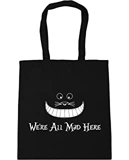 Alice in Wonderland Down the Rabbit Hole Legs Black Cotton Tote Shopping Bag