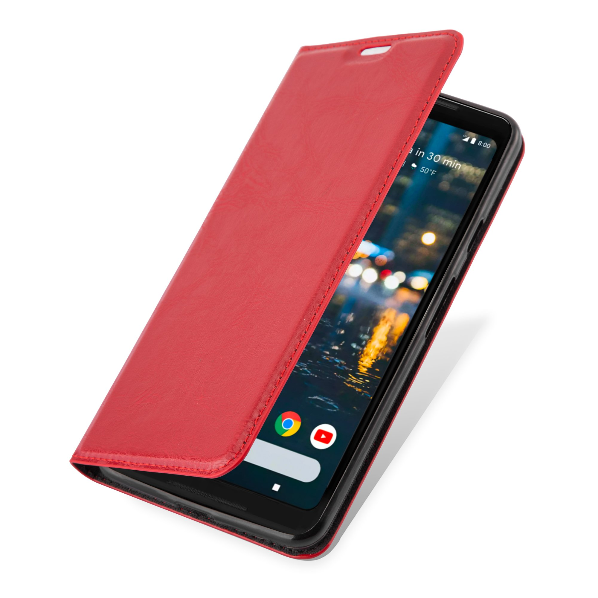 Cadorabo Case works with Google PIXEL 2 XL Book Case in APPLE RED (Design INVISIBLE CLOSURE) – with Magnetic Closure, Stand Function and Card Slot – Wallet Case Etui Cover PU Leather