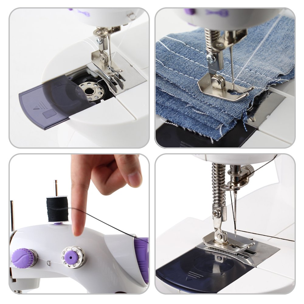 Portable Sewing Machine With Light and Cutter,White //Purple Double Speed HAITRAL Sewing Machine Mini 2-Speed Double Thread