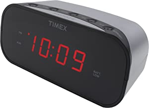 Timex T121S Alarm Clock with 0.7-Inch Red Display (Silver)