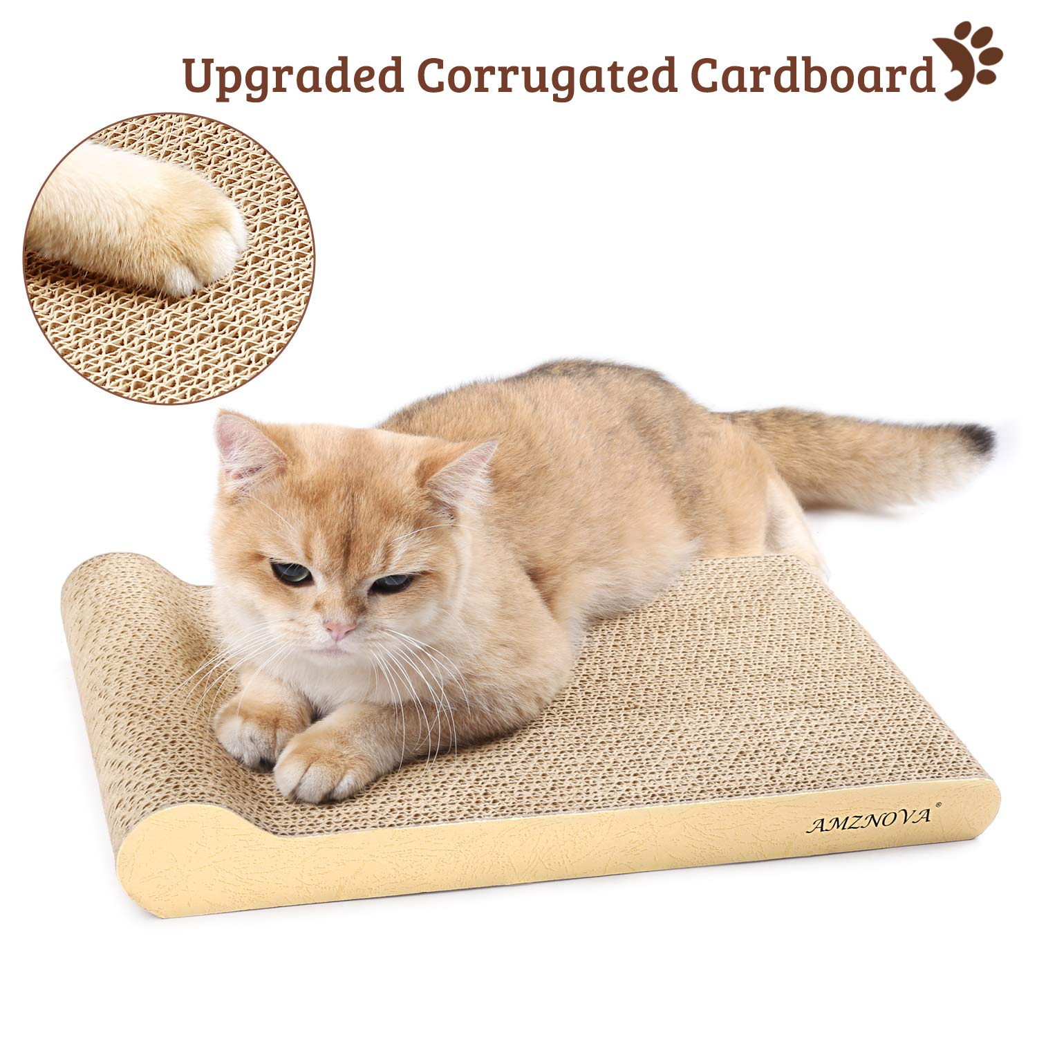 Catnip Included Corrugated Cardboard Scratch Lounge 1 Pack Durable Kitty Scratching Pad with Bottom Textured White AMZNOVA Cat Scratchers