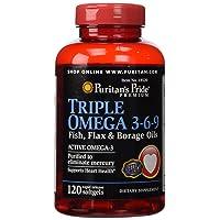 Puritans Pride Triple Omega 3-6-9 Fish, Flax & Borage Oils, 120 Count
