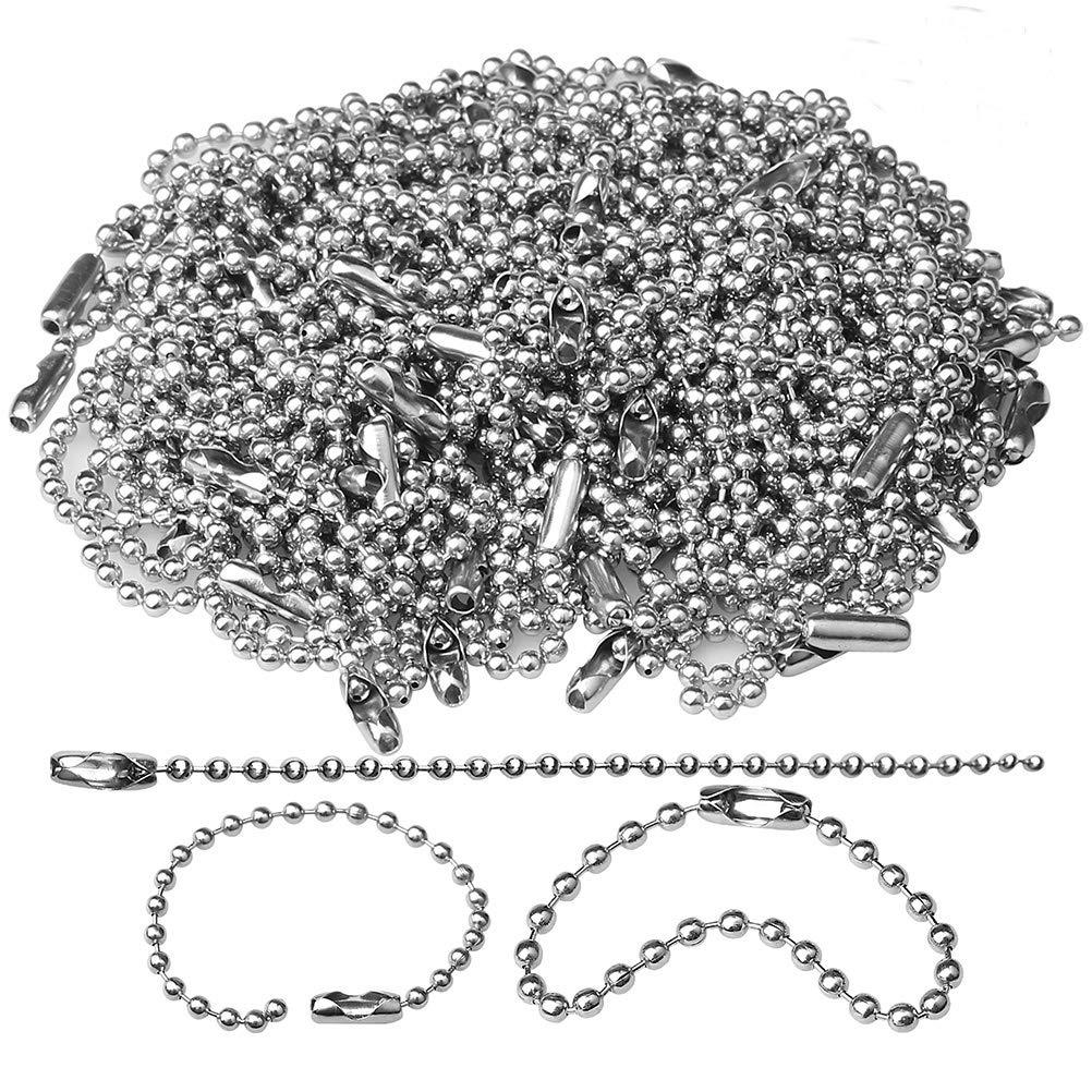 150 pcs 100mm Bead Connector Clasp,2.4mm Diameter Ball Chain Keychain Rings Metal Bead Chain Nickel Chain Dog Tag Chain HSAN 4336833595