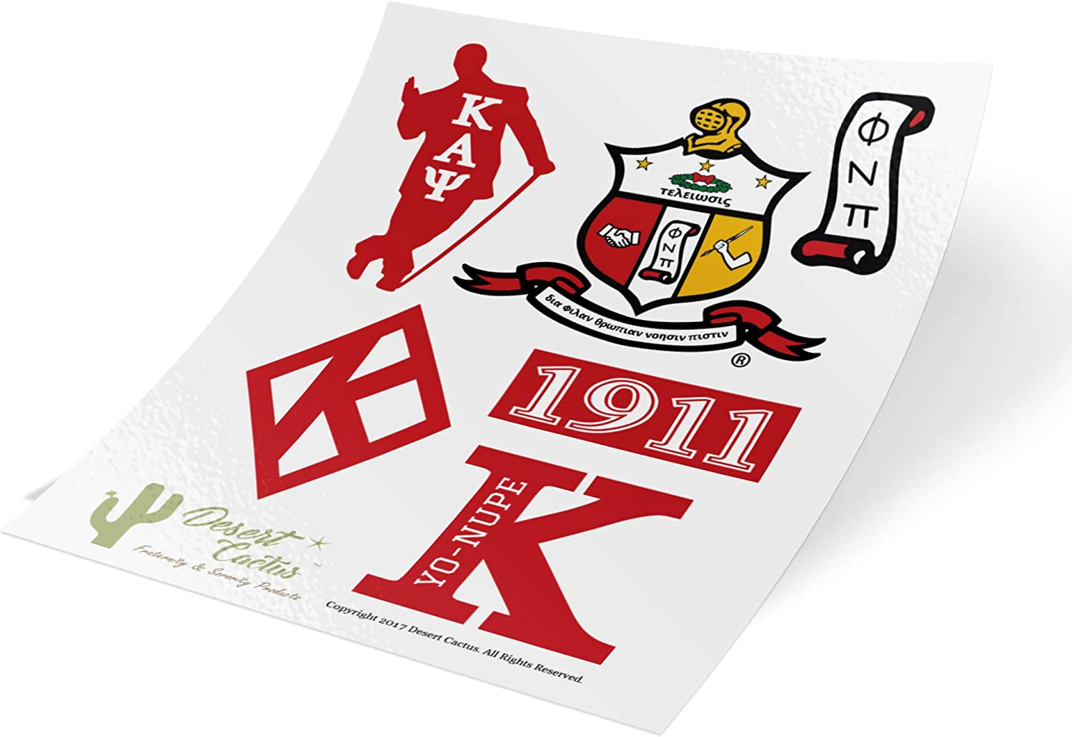 Kappa Alpha Psi Sticker Sheet Decal Laptop Water Bottle Car Sigma (Full Sheet - Type 2)