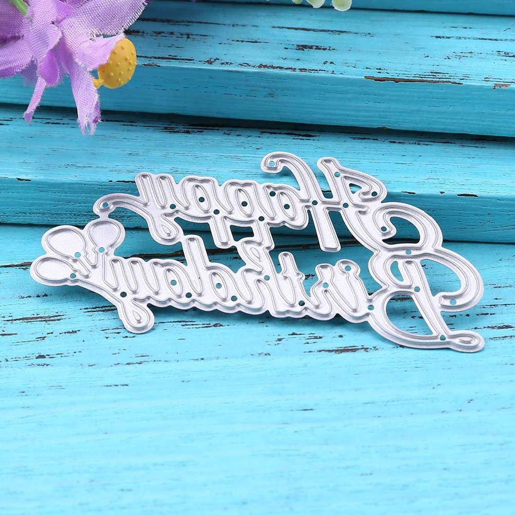 Sikiwind Cutting Dies Happy Birthday,Metal Die Cuts for Card Making Embossing Stencil for Scrapbooking DIY Album Paper Cards Art Craft Decoration