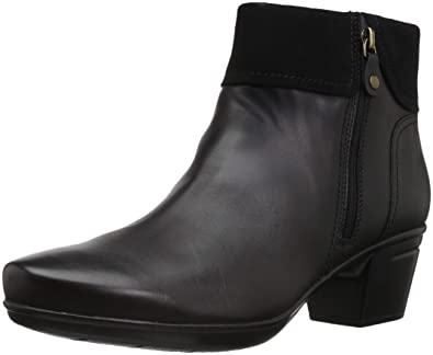 66a526794d9 CLARKS Women's Emslie Twist Fashion Boot, Black Leather/Suede Combi, 050 M  US