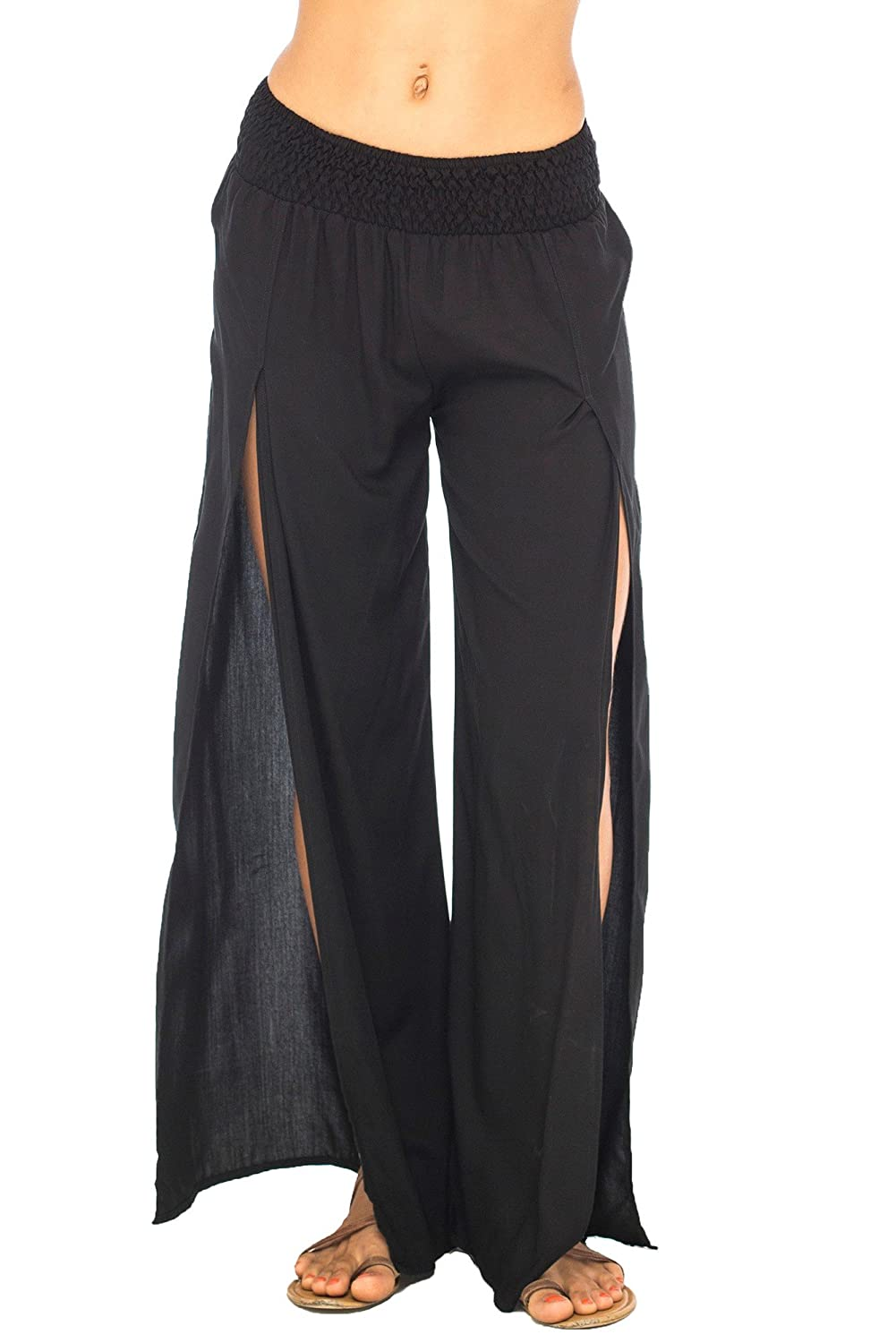 6ec2b19d7b Back From Bali Womens Palazzo Pants Wide Leg Loose Beach Pants with Slit  Boho Swimsuit Cover Up at Amazon Women's Clothing store: