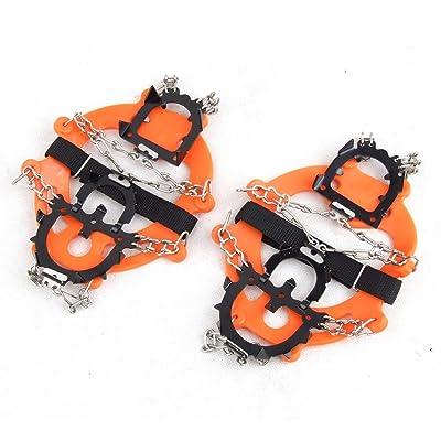 12 Dents lixada paire de griffes crampons d'alpinisme anti dérapant couvre-chaussures extérieur en acier inoxydable ski de neige pour ice randonnée gris